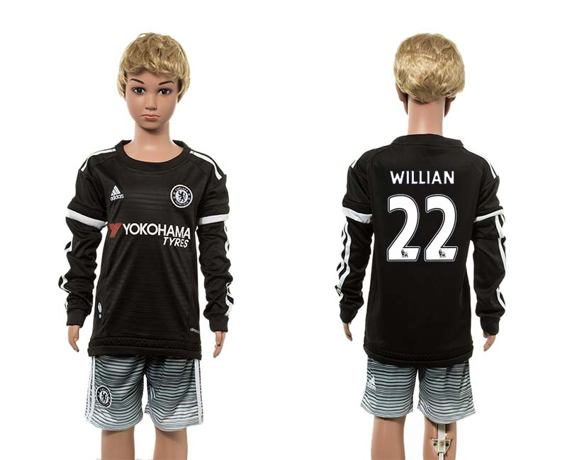 2015-16 Chelsea 22 WILLIAN Third Away Youth Long Sleeve Jersey