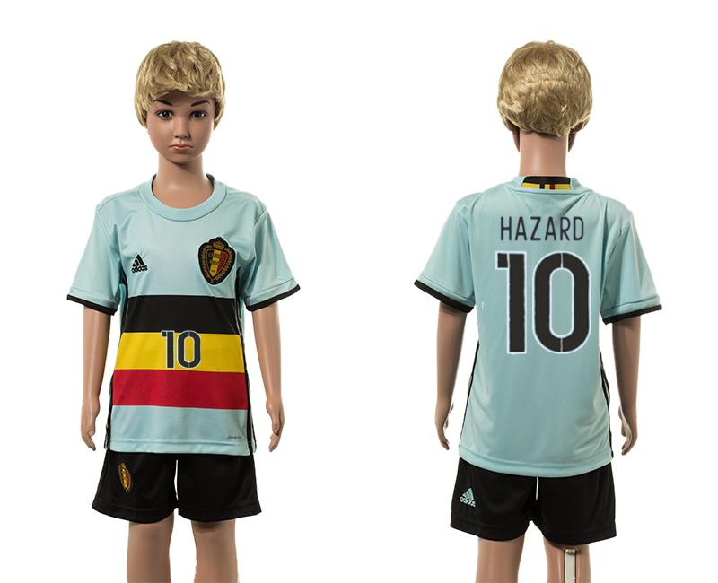 Belgium 10 HAZARD Away Youth UEFA Euro 2016 Jersey