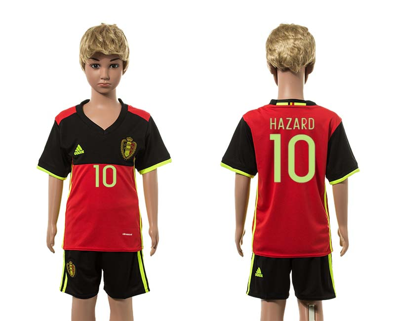 Belgium 10 HAZARD Home Youth UEFA Euro 2016 Jersey