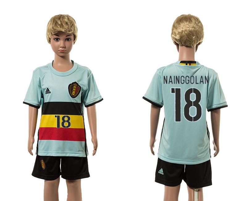 Belgium 18 NAINGGOLAN Away Youth UEFA Euro 2016 Jersey