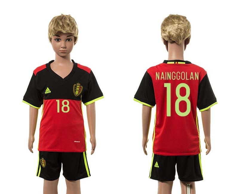 Belgium 18 NAINGGOLAN Home Youth UEFA Euro 2016 Jersey
