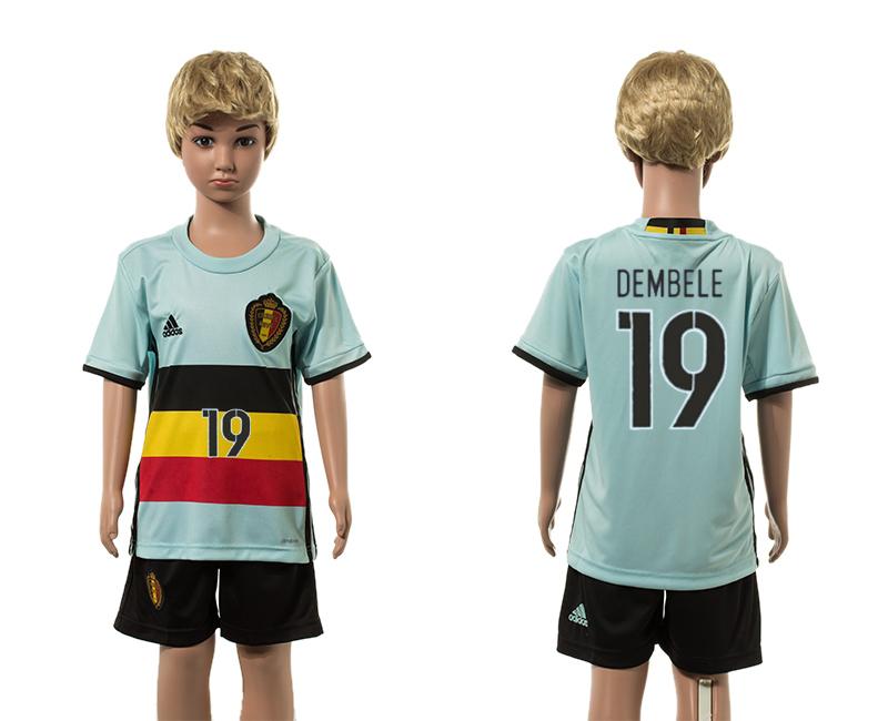 Belgium 19 DEMBELE Away Youth UEFA Euro 2016 Jersey