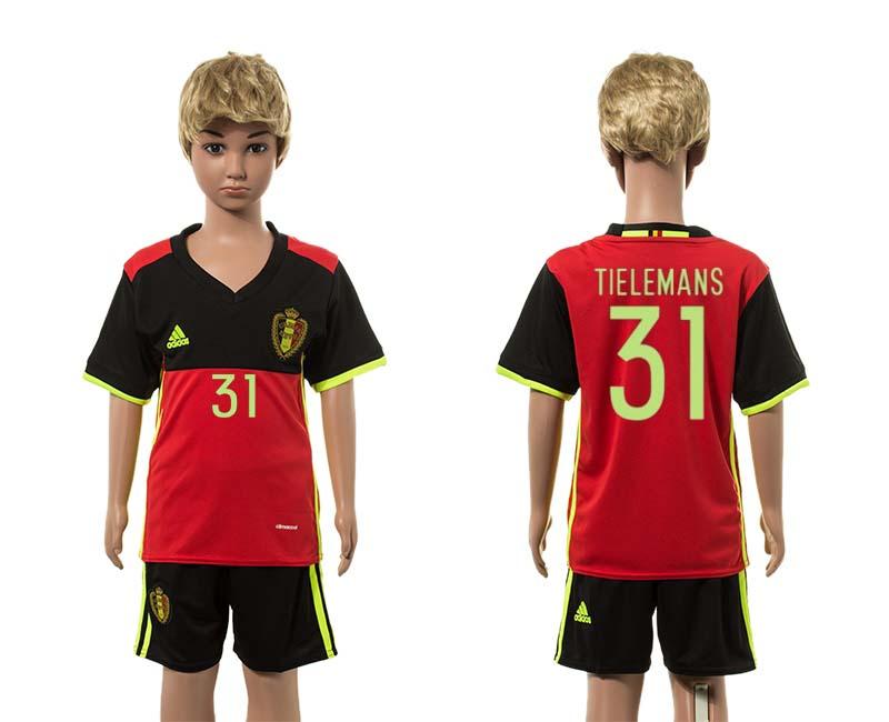 Belgium 31 TIELEMANS Home Youth UEFA Euro 2016 Jersey