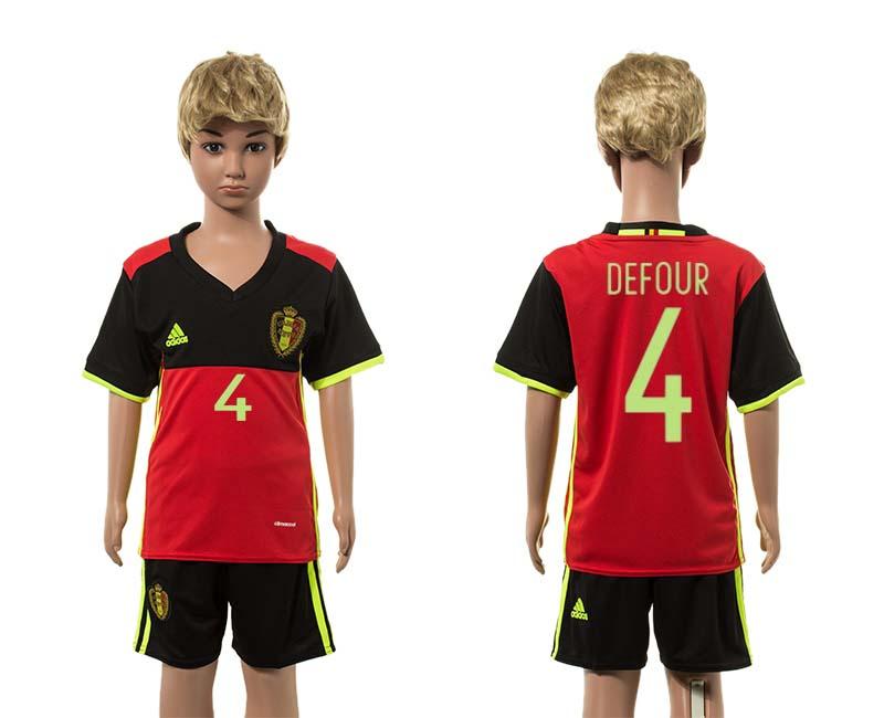Belgium 4 KOMPANY Home Youth UEFA Euro 2016 Jersey