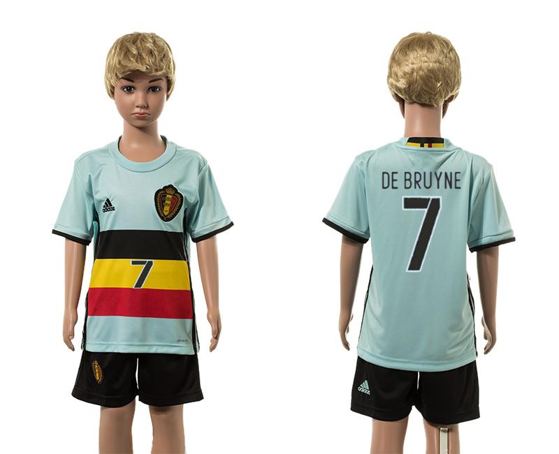 Belgium 7 DE BRUYNE Away Youth UEFA Euro 2016 Jersey