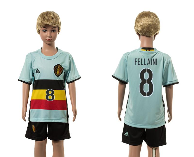Belgium 8 FELLAINI Away Youth UEFA Euro 2016 Jersey