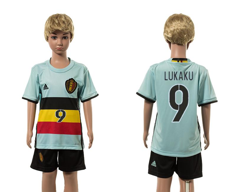 Belgium 9 LUKAKU Away Youth UEFA Euro 2016 Jersey