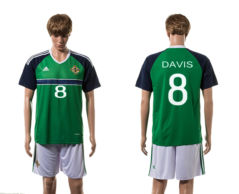 Northern Ireland 8 DAVIS Home UEFA Euro 2016 Jersey