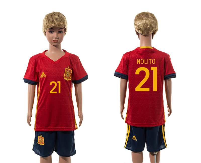 Spain 21 NOLITO Home Youth UEFA Euro 2016 Jersey
