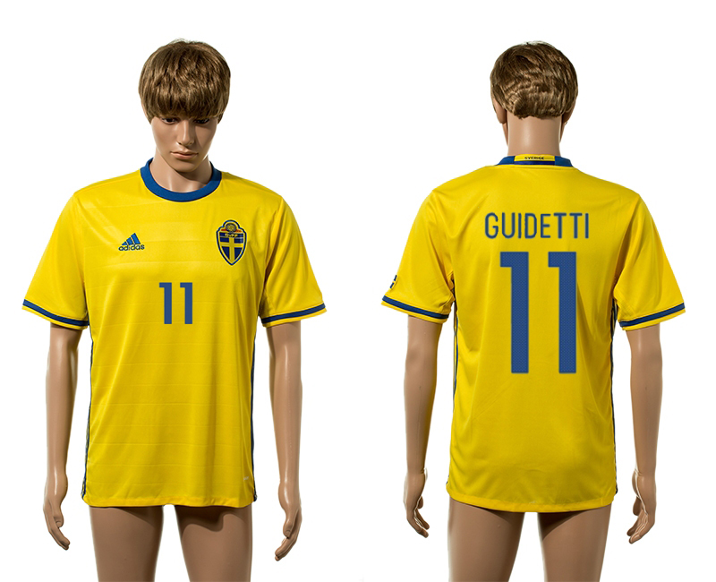 Sweden 11 GUIDETTI Home UEFA Euro 2016 Thailand Jersey