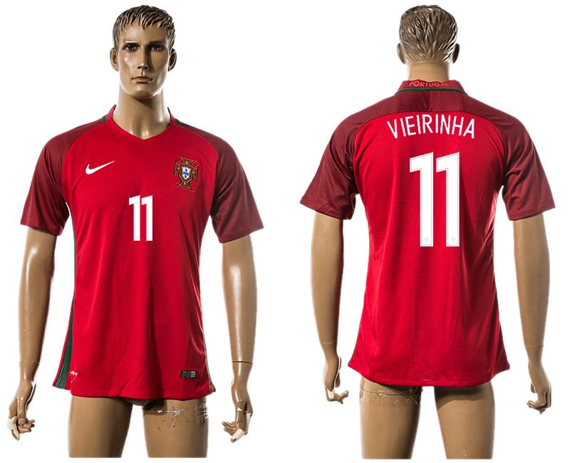 Portugal 11 VIEIRINHA Home UEFA Euro 2016 Thailand Jersey