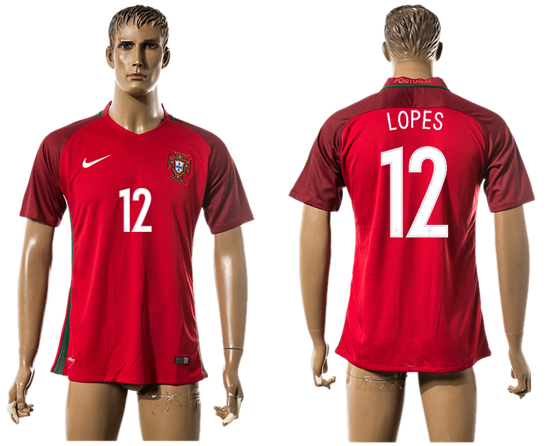 Portugal 12 LOPES Home UEFA Euro 2016 Thailand Jersey