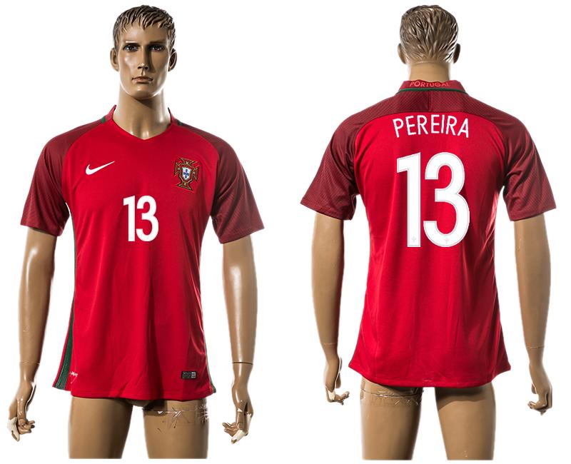Portugal 13 PEREIRA Home UEFA Euro 2016 Thailand Jersey