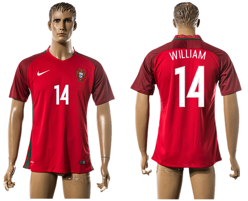 Portugal 14 WILLIAM Home UEFA Euro 2016 Thailand Jersey