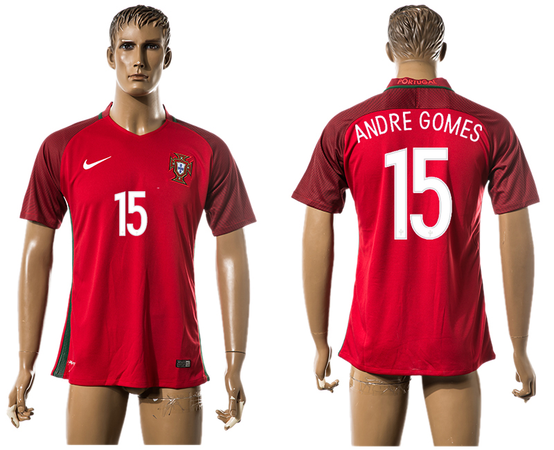 Portugal 15 ANDRE GOMES Home UEFA Euro 2016 Thailand Jersey