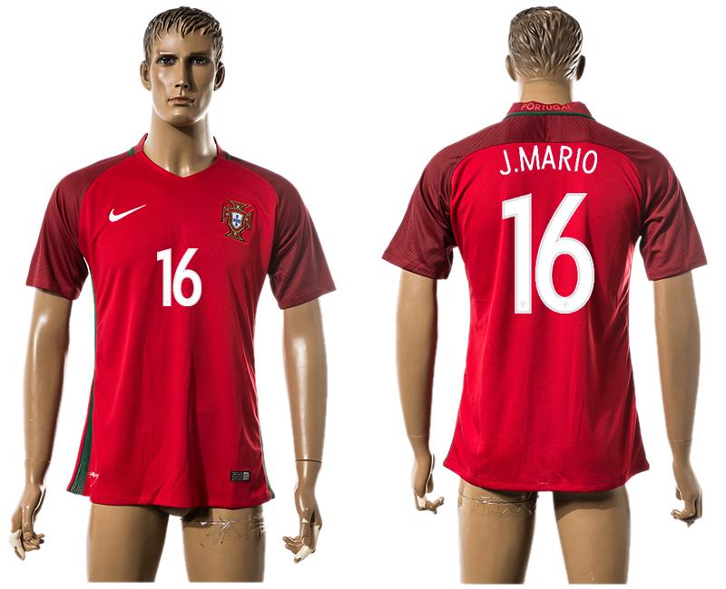 Portugal 16 J.MARIO Home UEFA Euro 2016 Thailand Jersey