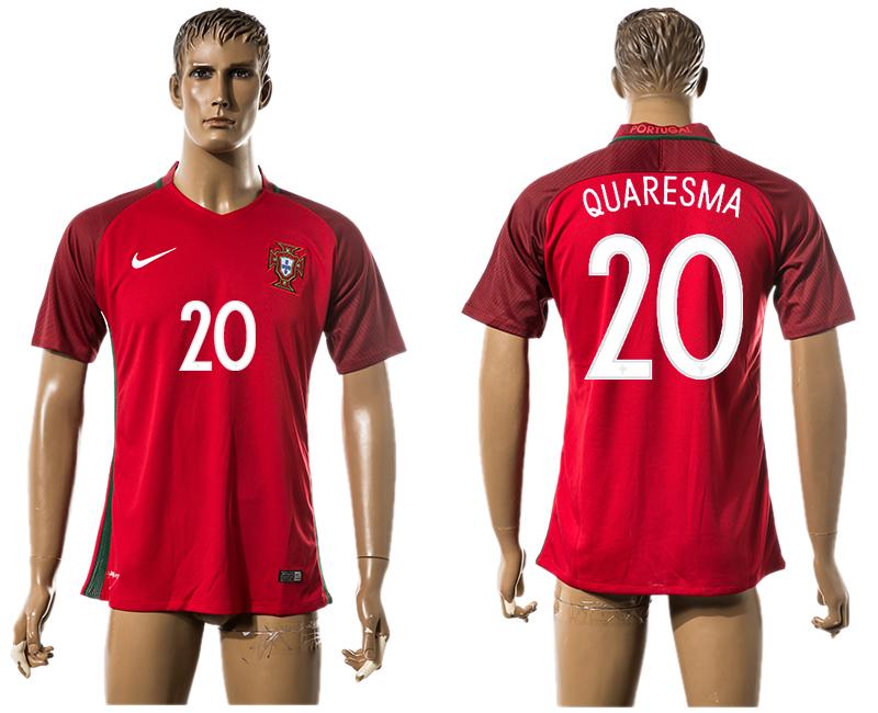 Portugal 20 QUARESMA Home UEFA Euro 2016 Thailand Jersey