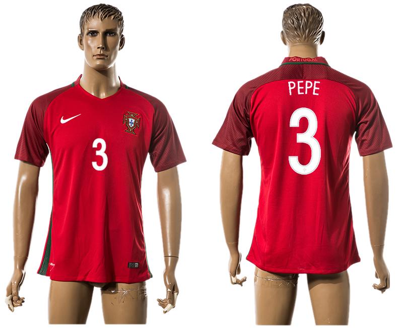 Portugal 3 PEPE Home UEFA Euro 2016 Thailand Jersey