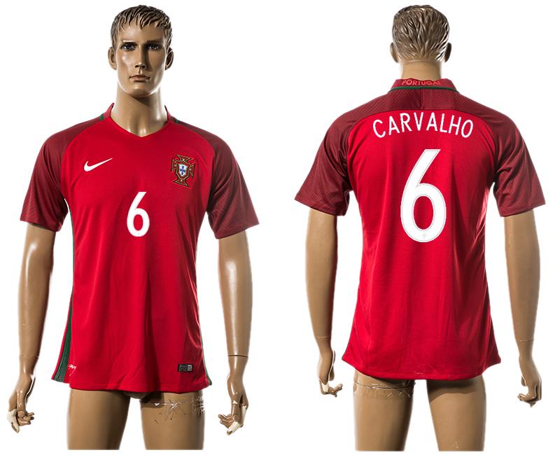 Portugal 6 CARVALHO Home UEFA Euro 2016 Thailand Jersey