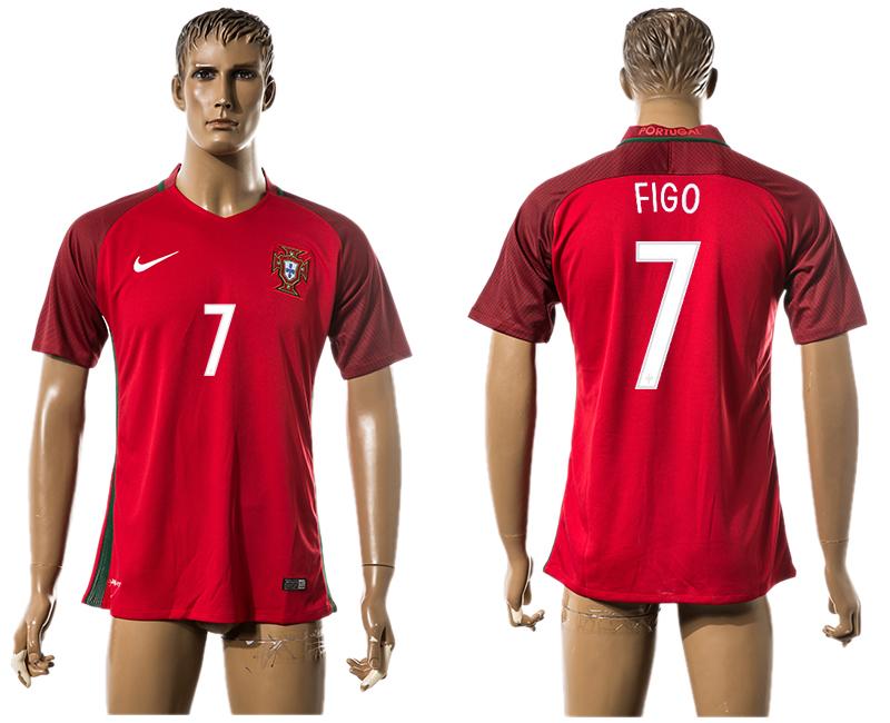 Portugal 7 FIGO Home UEFA Euro 2016 Thailand Jersey