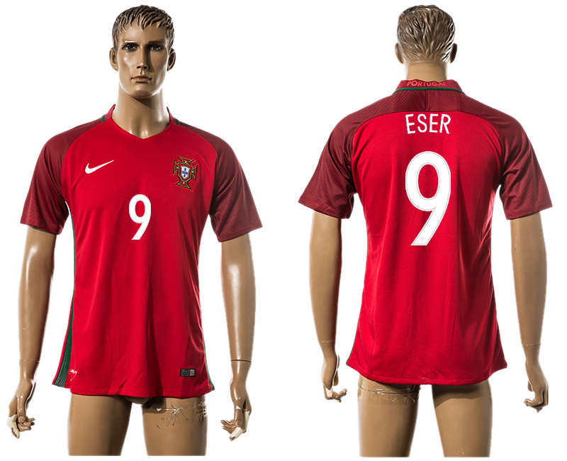 Portugal 9 ESER Home UEFA Euro 2016 Thailand Jersey