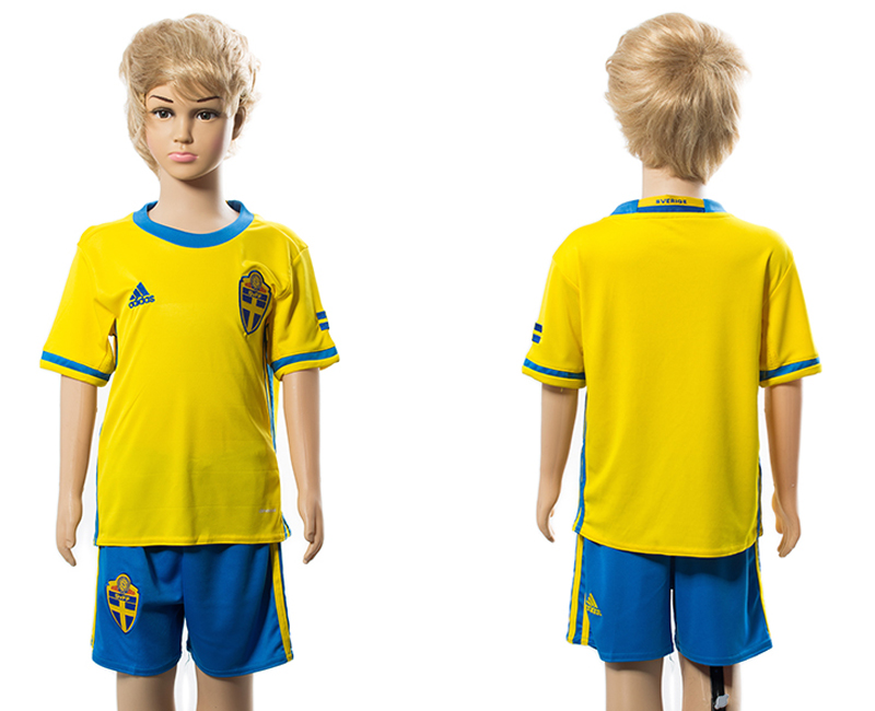 Sweden Home Youth UEFA Euro 2016 Soccer Jersey