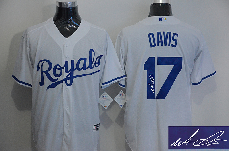 Royals 17 Wade Davis White Signature Edition New Cool Base Jersey