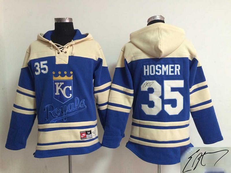 Royals 35 Eric Hosmer Royal Blue Signature Edition All Stitched Hooded Sweatshirt