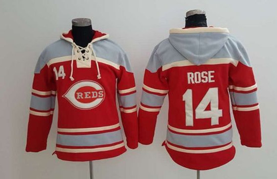Reds 14 Pete Rose Red All Stitched Sweatshirt