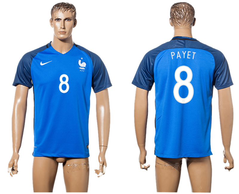 France 8 PAYET Home UEFA Euro 2016 Thailand Soccer Jersey