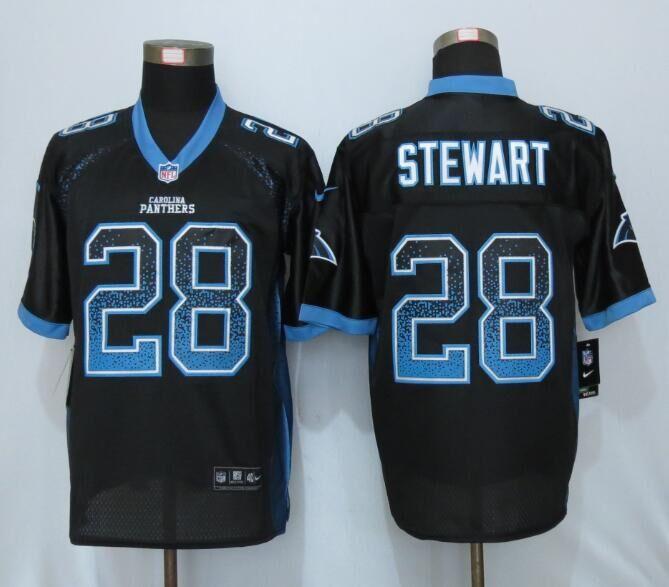 Nike Panthers 28 Jonathan Stewart Black Drift Fashion Elite Jersey