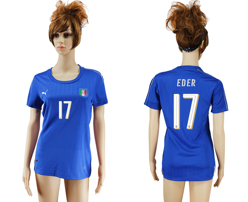 Italy 17 EDER Home Women UEFA Euro 2016 Soccer Jersey