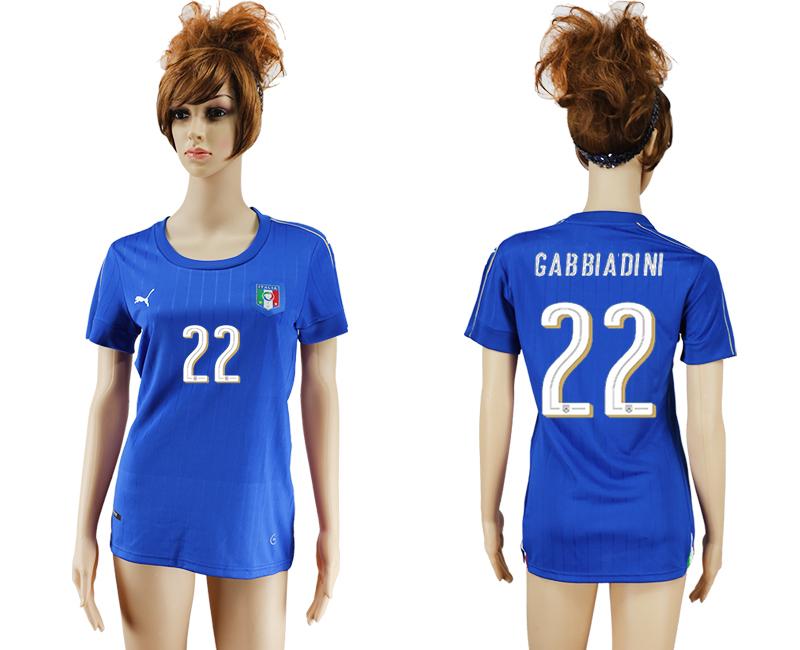 Italy 22 GABBIADINI Home Women UEFA Euro 2016 Soccer Jersey