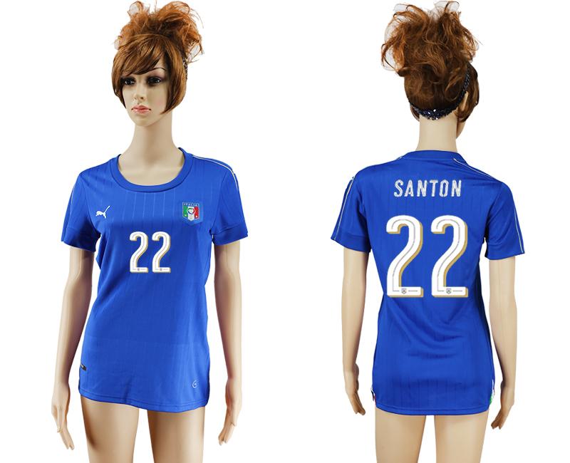 Italy 22 SANTON Home Women UEFA Euro 2016 Soccer Jersey