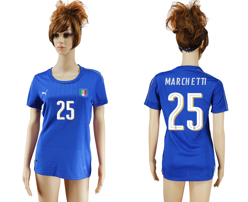 Italy 25 MARCHETTI Home Women UEFA Euro 2016 Soccer Jersey