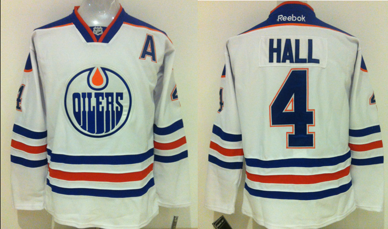 Oilers 4 Taylor Hall White Reebok Jersey