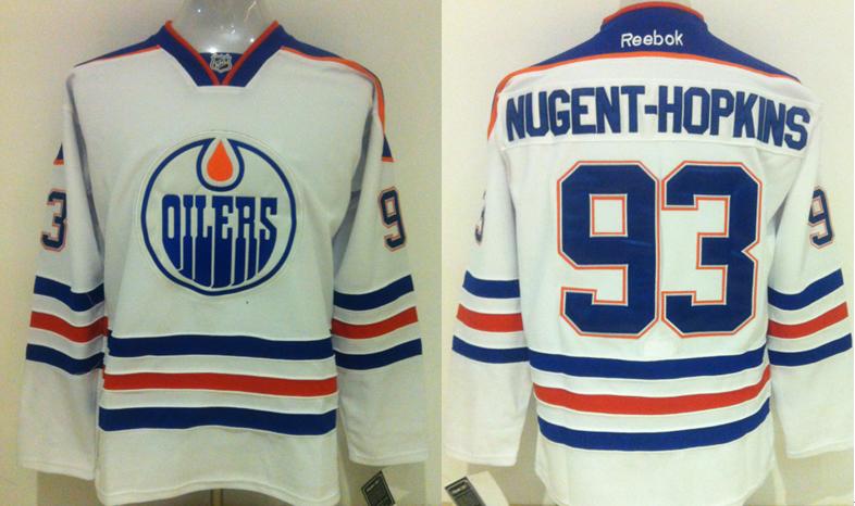 Oilers 93 Ryan Nugent Hopkins White Reebok Jersey