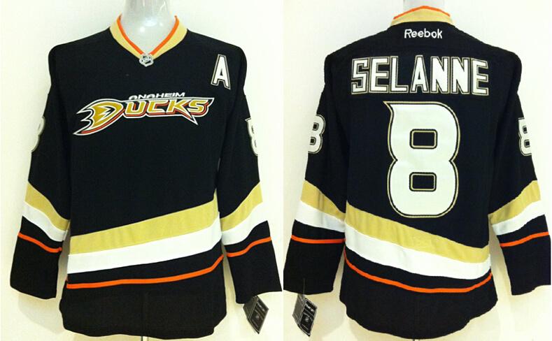 Ducks 8 Teemu Selanne Black Reebok Jersey