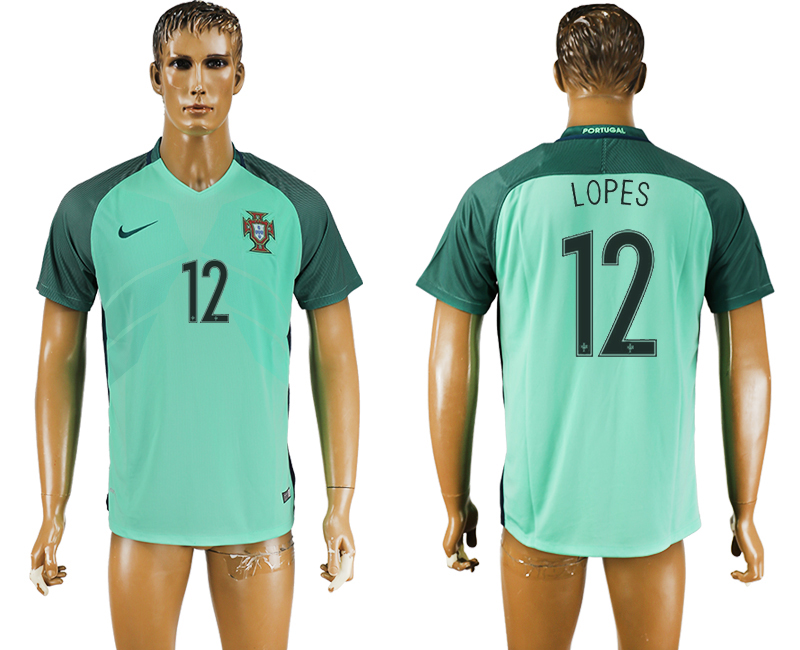 Portugal 12 LOPES Away UEFA Euro 2016 Thailand Soccer Jersey