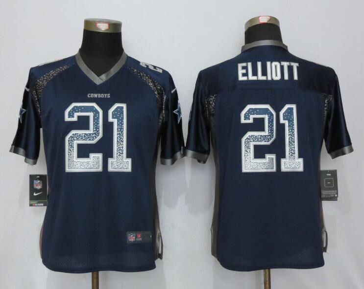Nike Cowboys 21 Ezekiel Elliott Blue Women Drift Fashion Jersey