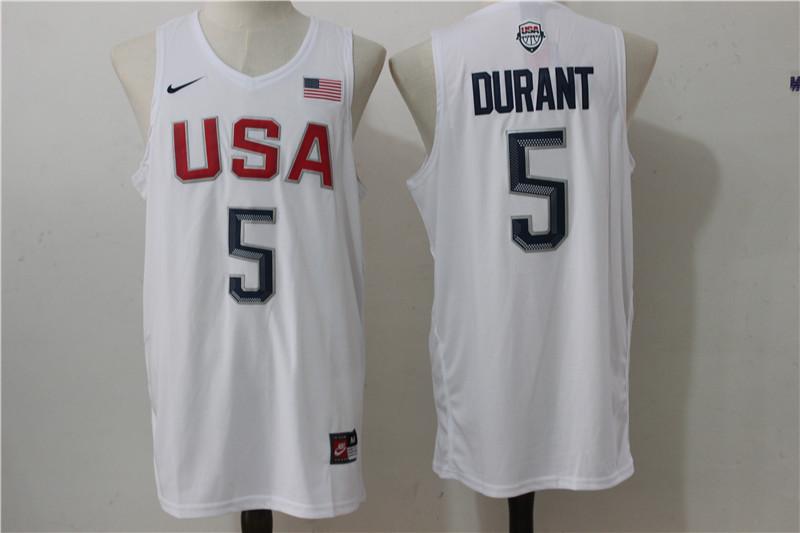 USA Basketball 5 Kevin Durant White Nike Rio Elite Stitched Jersey