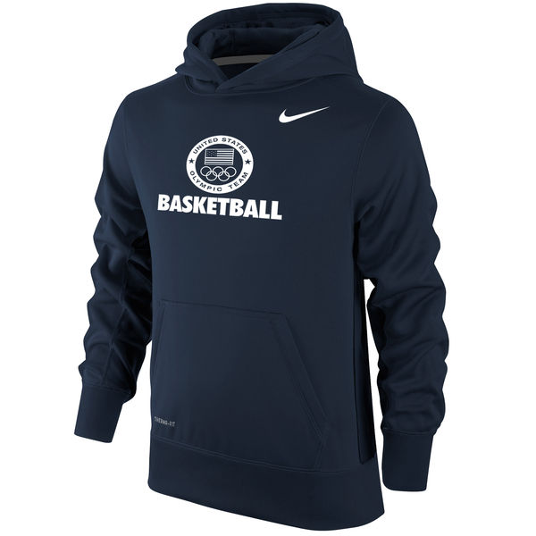 Team USA Basketball Nike Youth Sport KO Performance Pullover Hoodie Navy