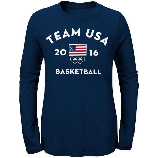 Team USA Basketball Women's Long Sleeve Very Official National Governing Bodies T-Shirt Navy