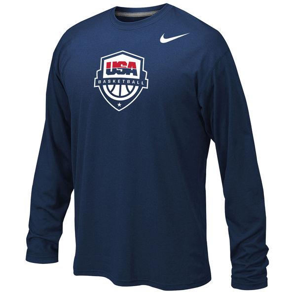 USA Basketball Nike Youth Legend Long Sleeve Performance T-Shirt Navy