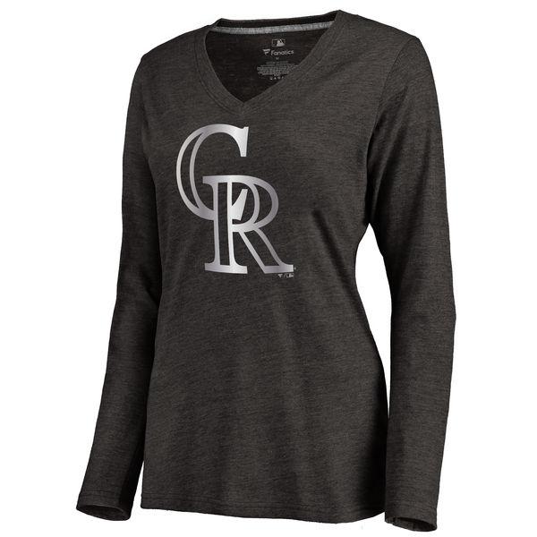 Colorado Rockies Women's Platinum Collection Long Sleeve V Neck Tri Blend T Shirt Black