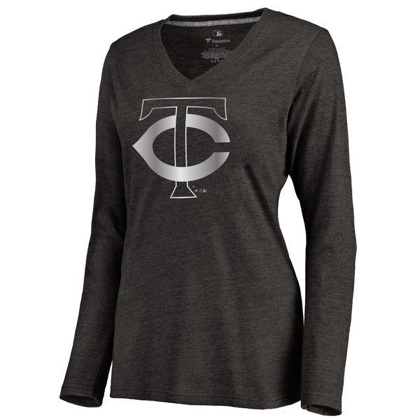 Minnesota Twins Women's Platinum Collection Long Sleeve V Neck Tri Blend T Shirt Black