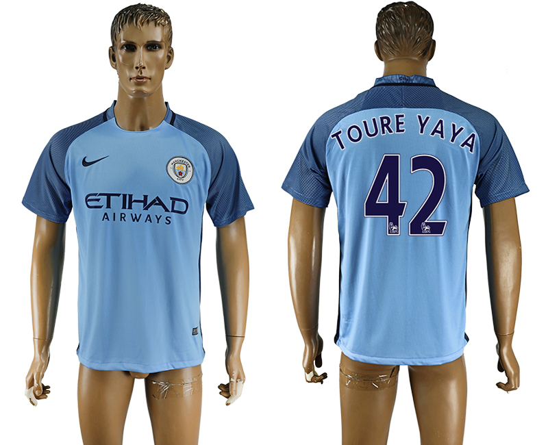 2016-17 Manchester City 42 TOURE YAYA Home Thailand Soccer Jersey