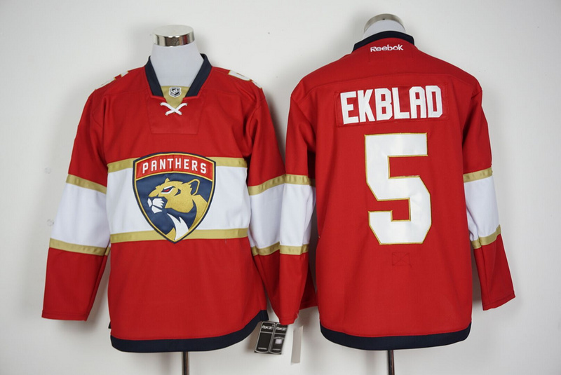 Panthers 5 Aaron Ekblad Red New Logo Reebok Jersey