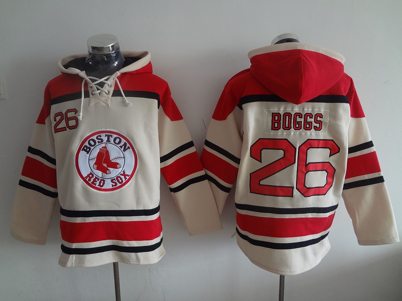 Red Sox 26 Wade Boggs Cream All Stitched Hooded Sweatshirt