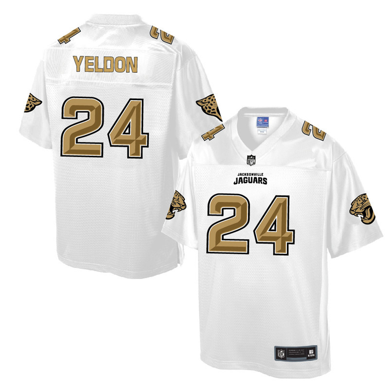 Nike Jaguars 24 T.J. Yeldon Pro Line White Gold Collection Elite Jersey